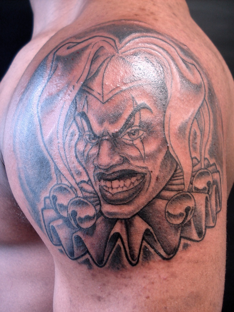 Clown tattoo on shoulder 2