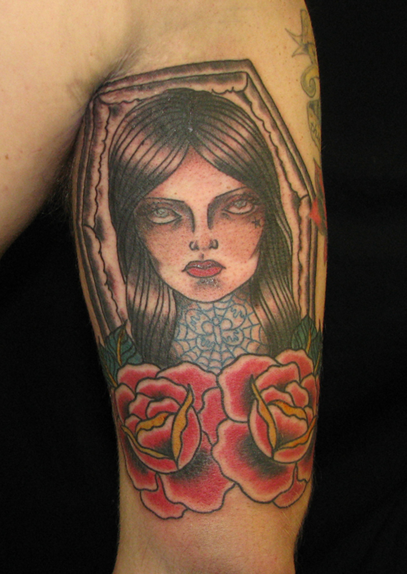 Coffin girl tattoo design