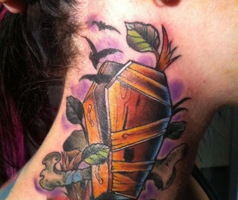 Coffin tattoo for neck