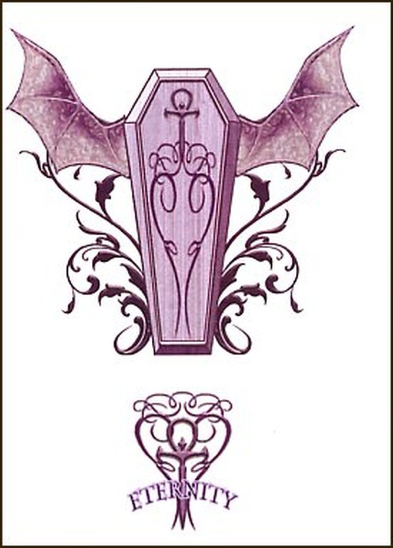 Coffin with bats wings tattoo design