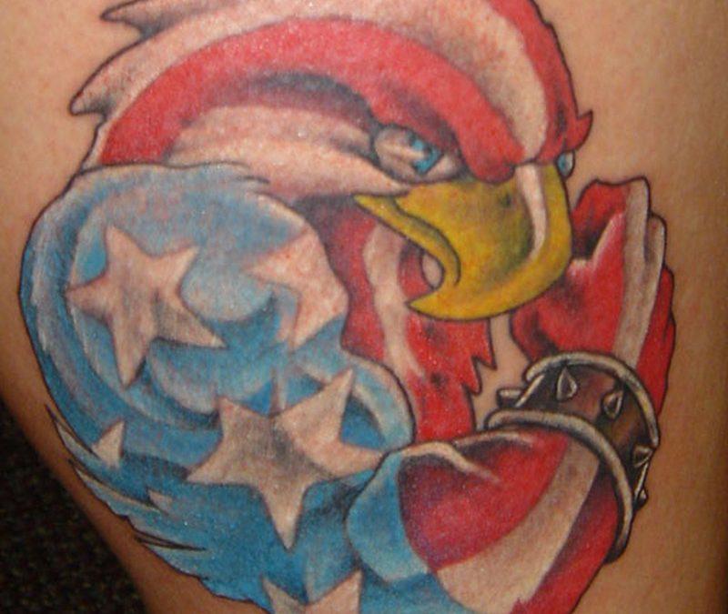Color american eagle flag tattoo design