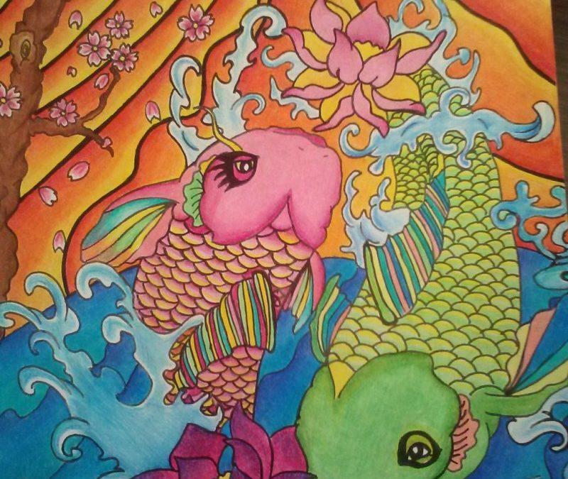 Color blast koi fish tattoo design