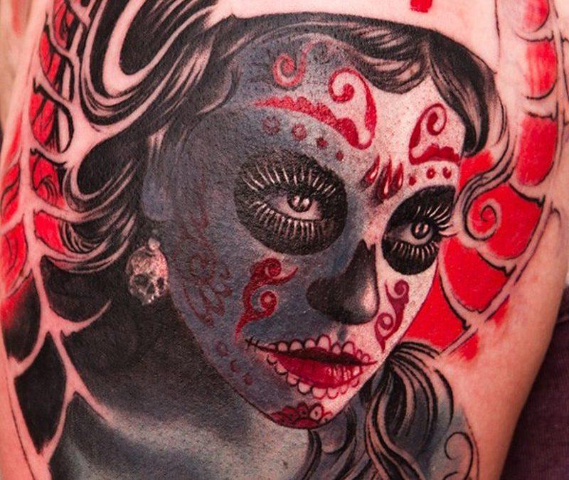 Color day of the dead sugar girl tattoo design
