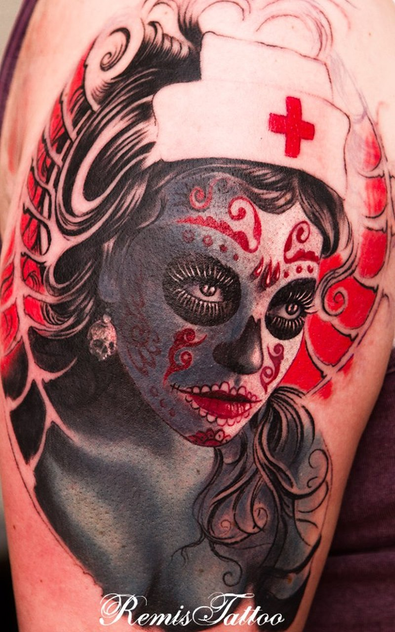 Color day of the dead sugar girl tattoo design tattoos for Tattoo girl book
