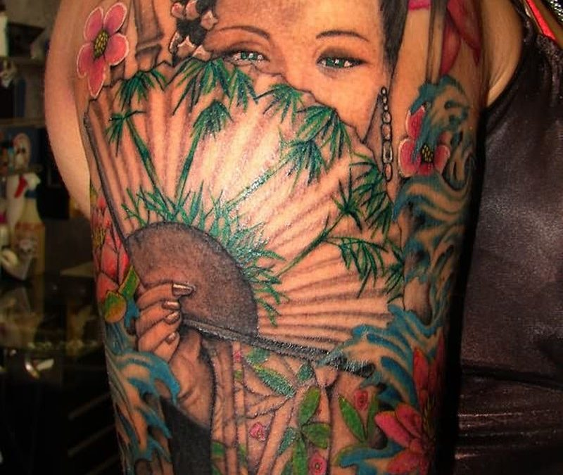 Color geisha asian woman tattoo