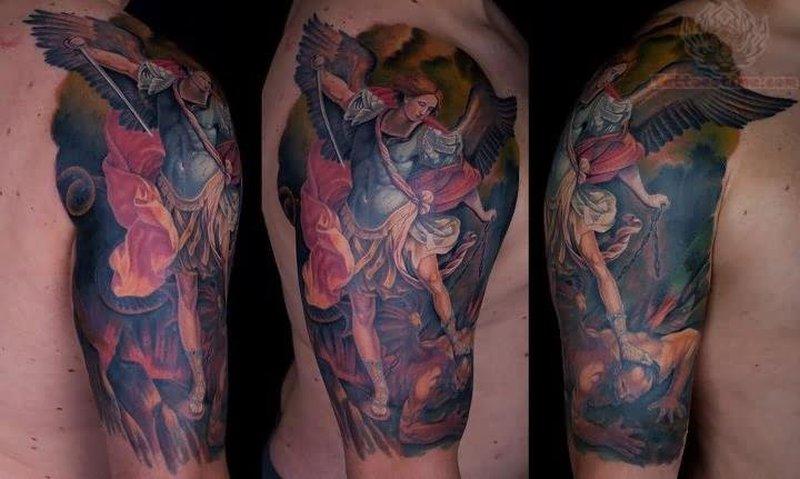 Color ink angel beat evil tattoo design