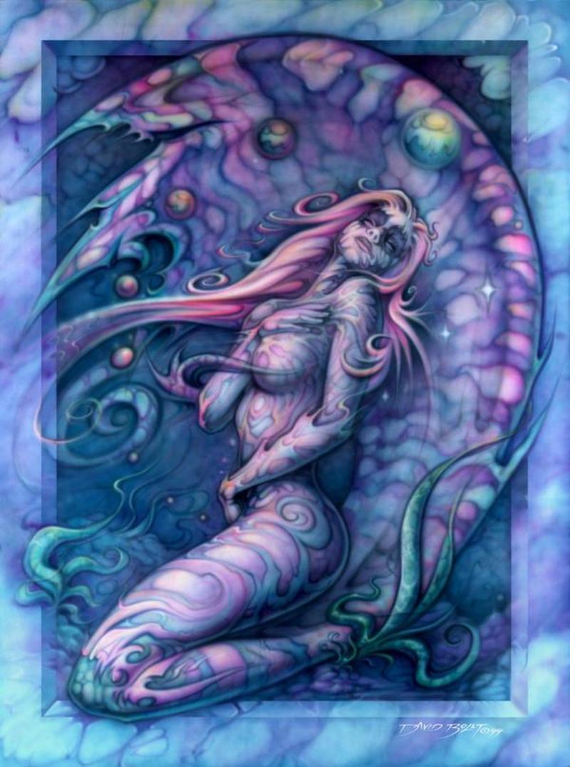 Color ink angel girl tattoo design