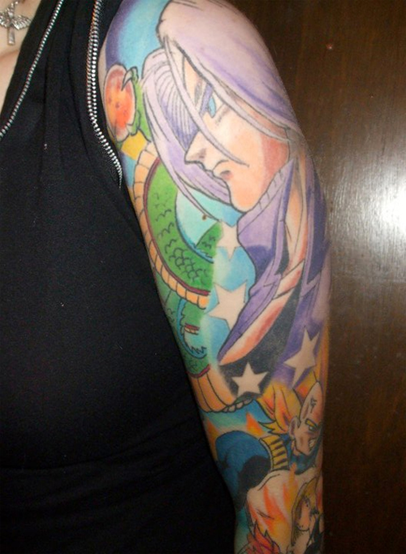 Color ink anime girl tattoo design on sleeve