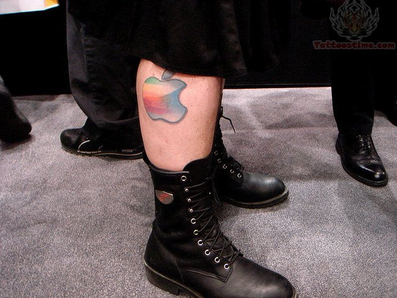 Color ink apple tattoo on leg