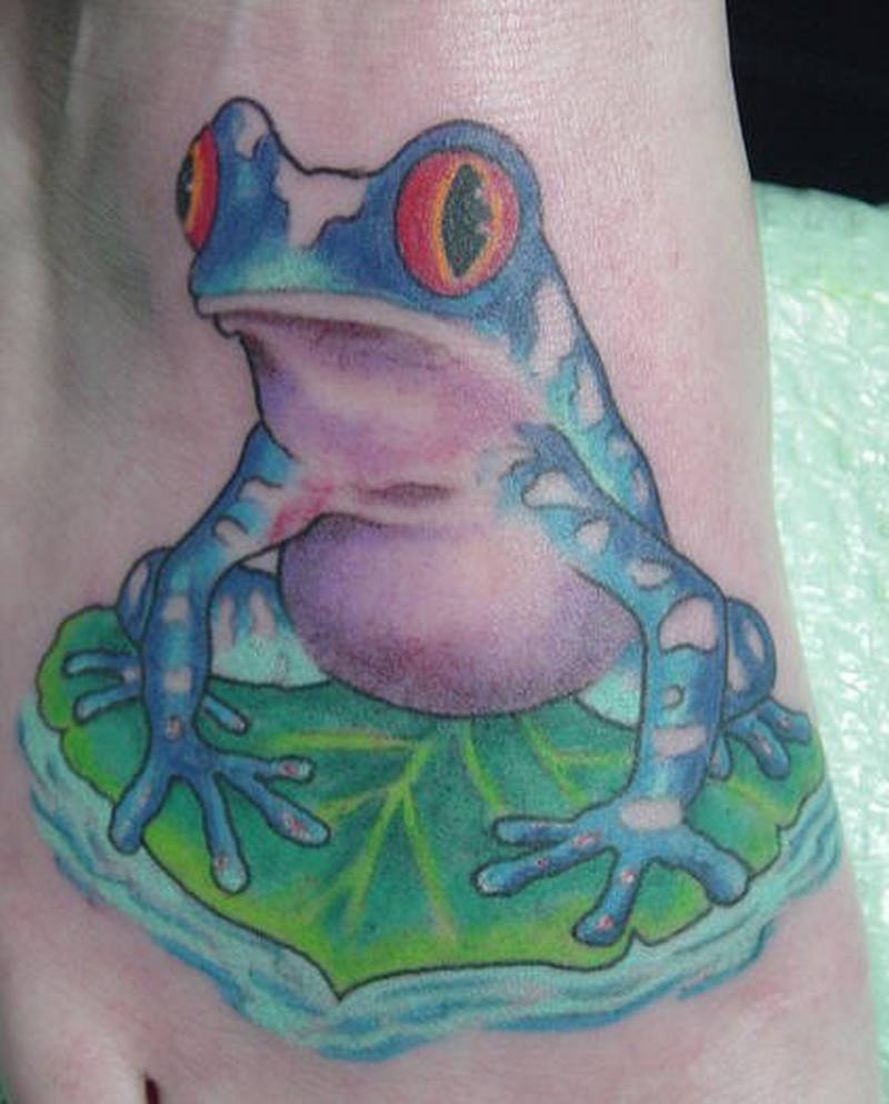 Color ink aqua frog tattoo