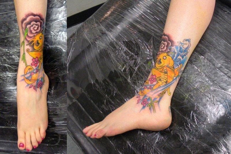 Color ink aqua tattoo on ankles