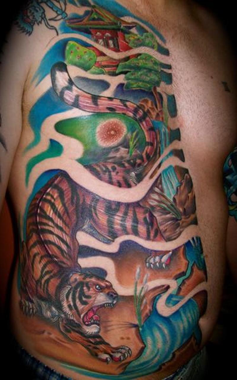 Color ink asian tiger tattoo design