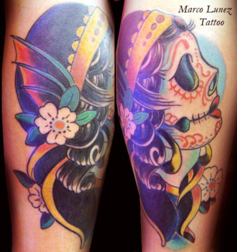 Color ink gypsy skull tattoo design