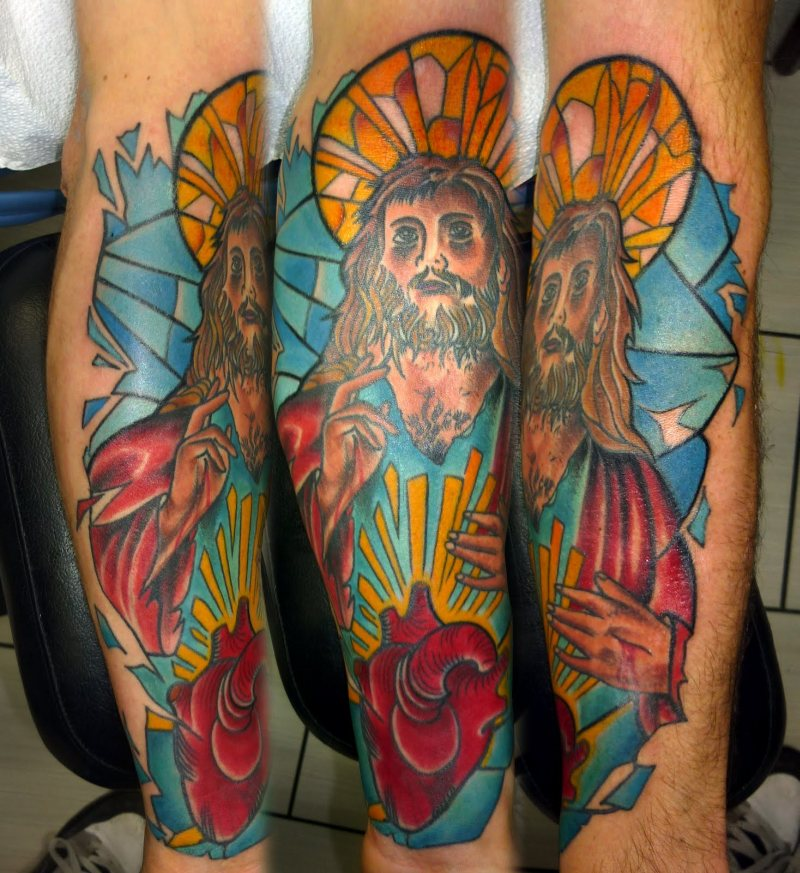 Color ink jesus n heart tattoo design