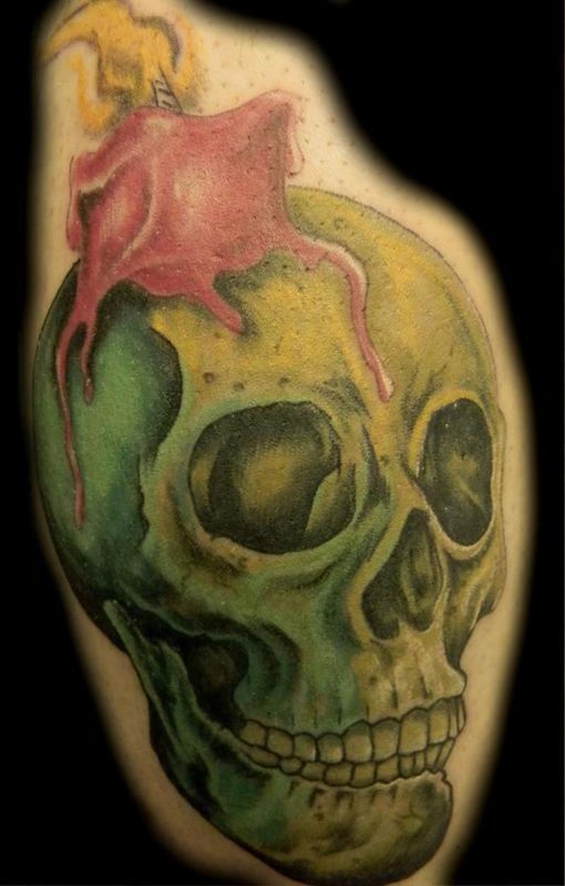 Color skull candle tattoo design