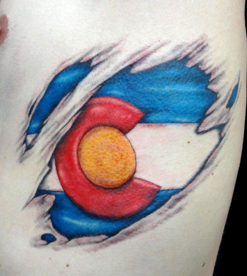 Colorado flag tattoo design for men