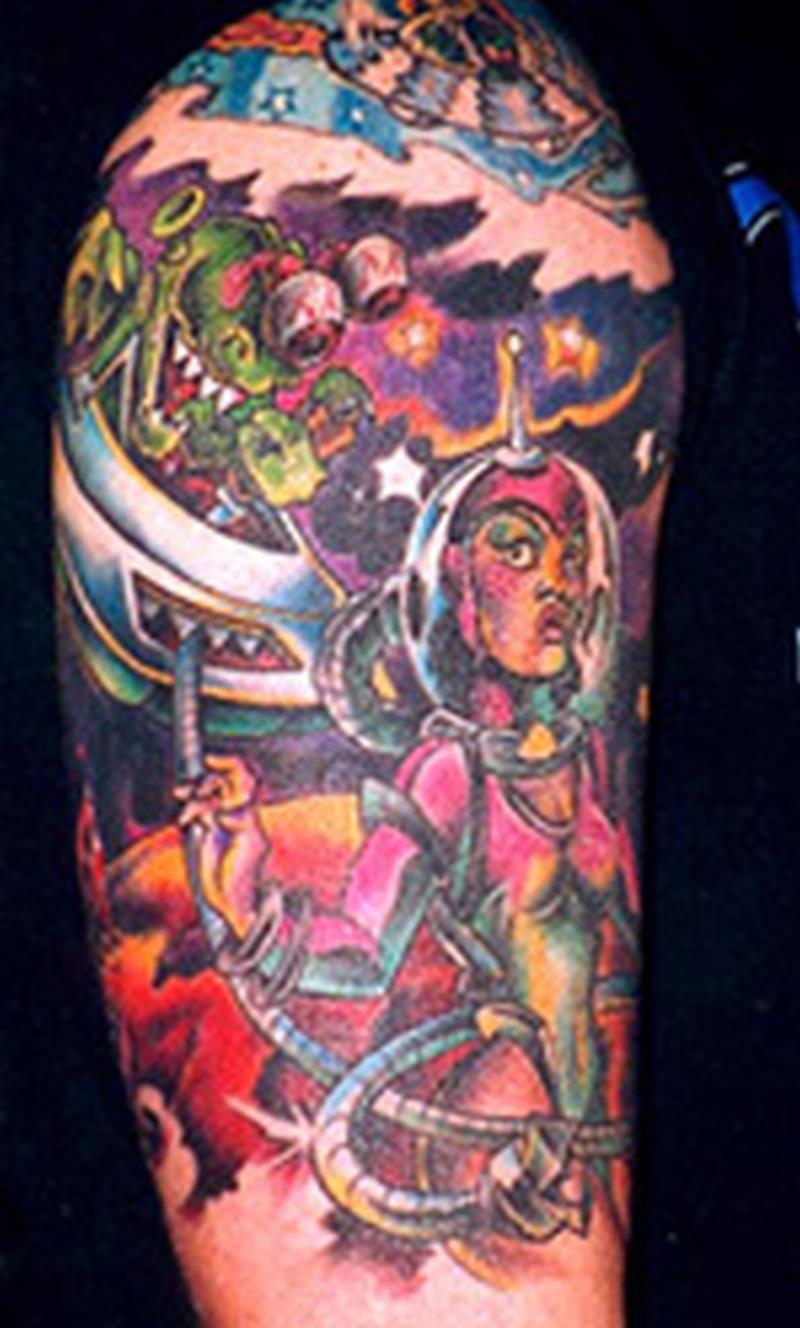 Colored alien tattoo