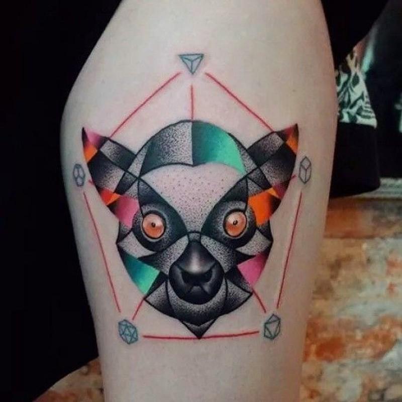 35da40b8ea3bc Colored head lemur in the pentagon tattoo - Tattoos Book - 65.000 ...