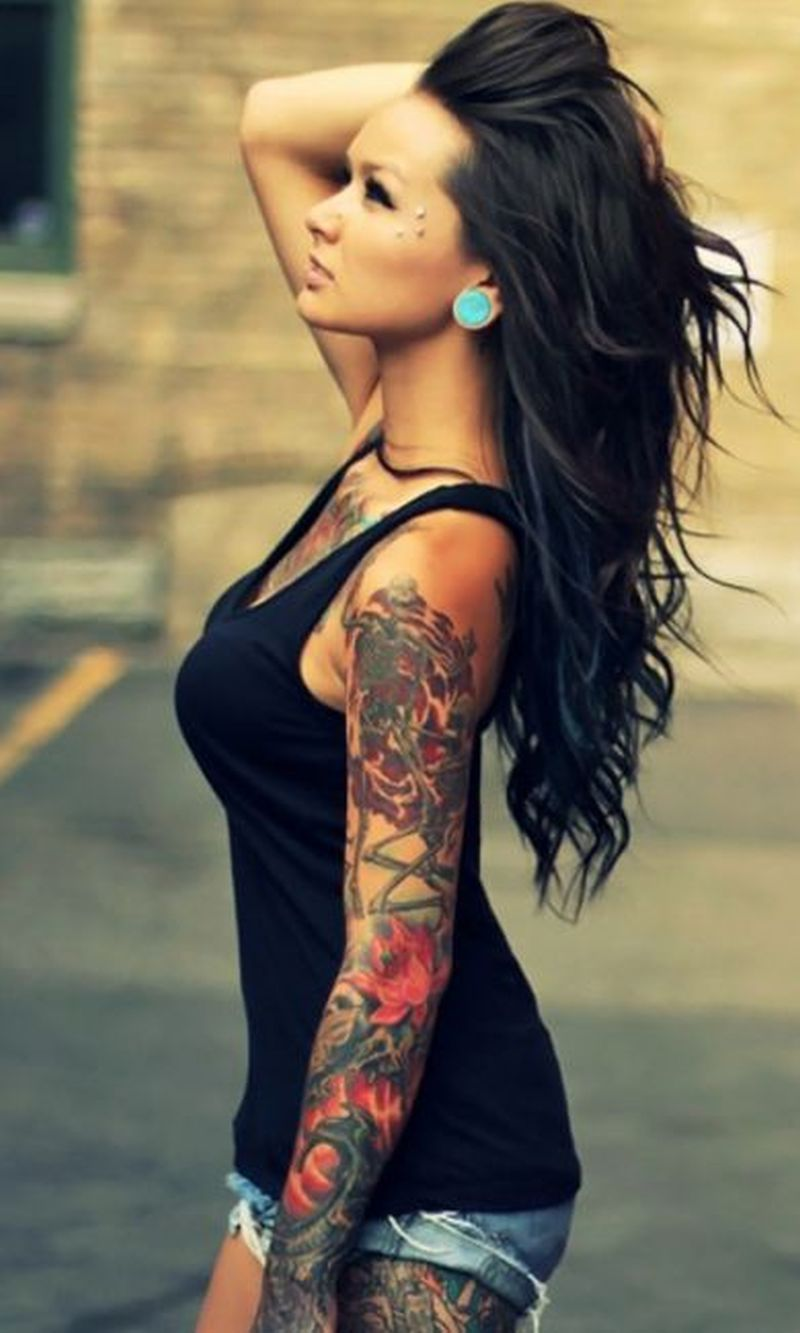 Colored left sleeve tattoo