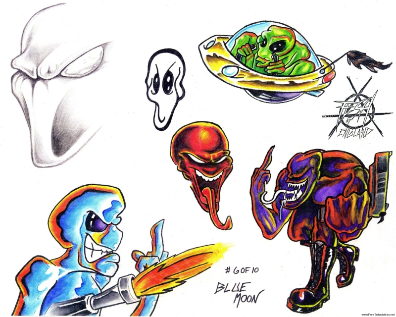 Colorful alien tattoos 2