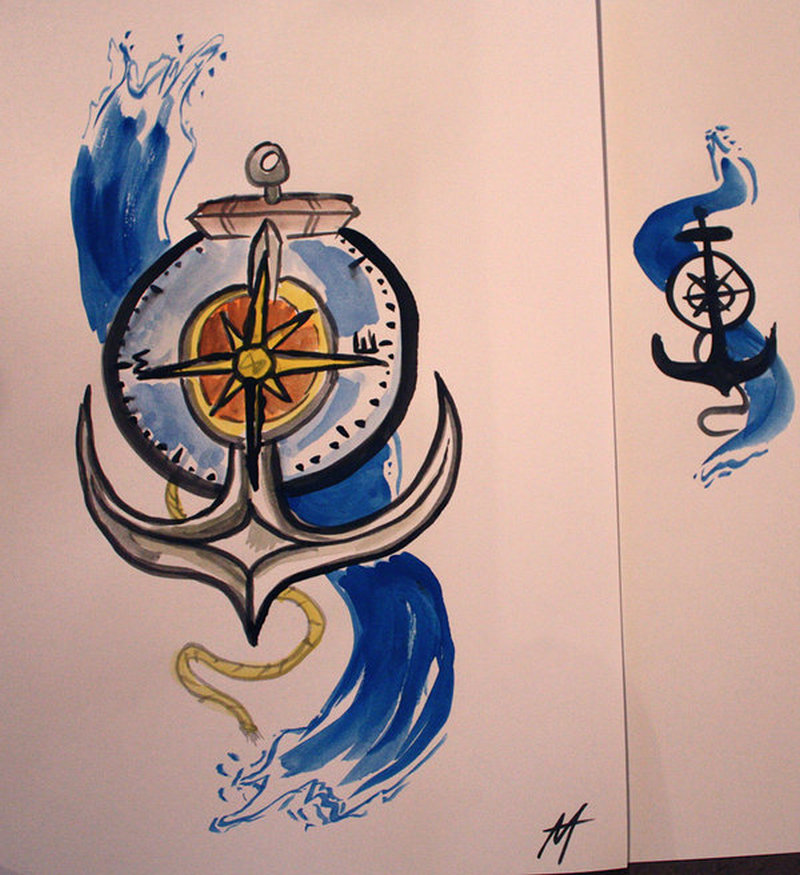 Colorful anchor compass tattoo