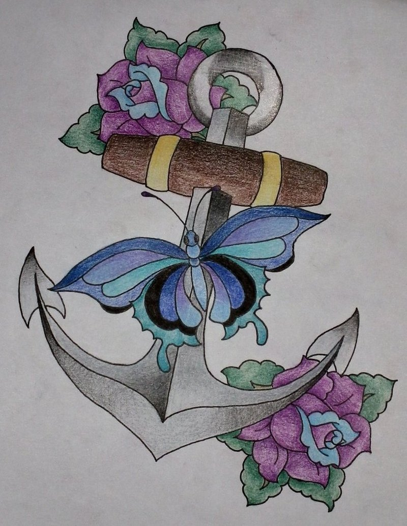 Colorful anchor flowers tattoo