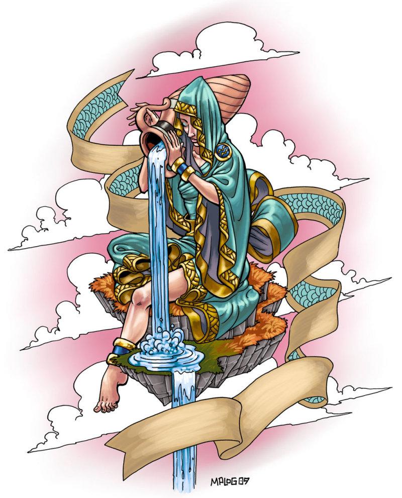 Colorful aquarius tattoo design