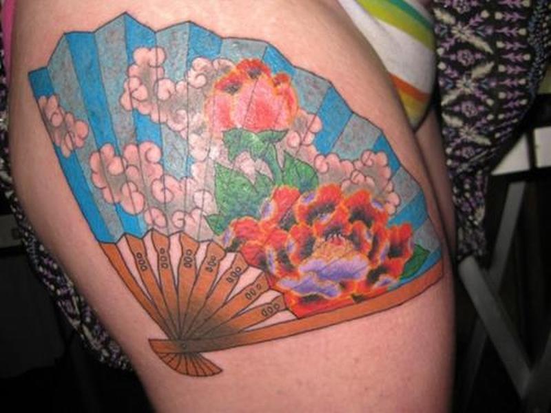 Colorful asian fan tattoo design