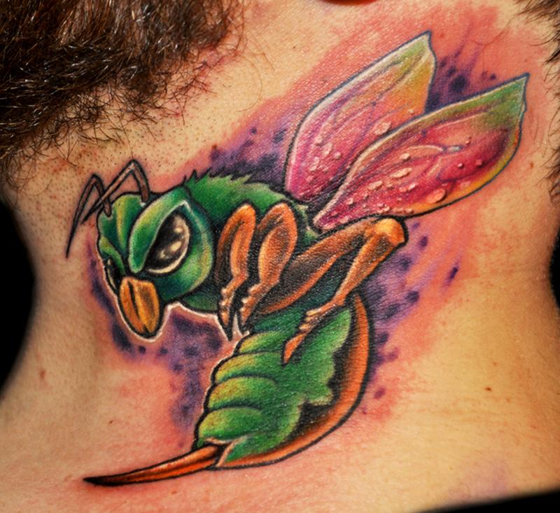 Colorful bee tattoo design