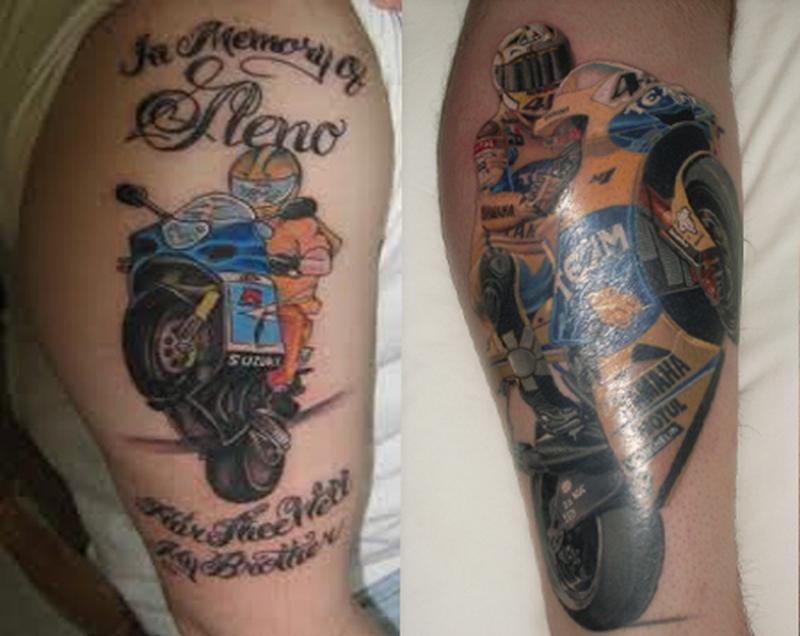 Colorful bike tattoo design