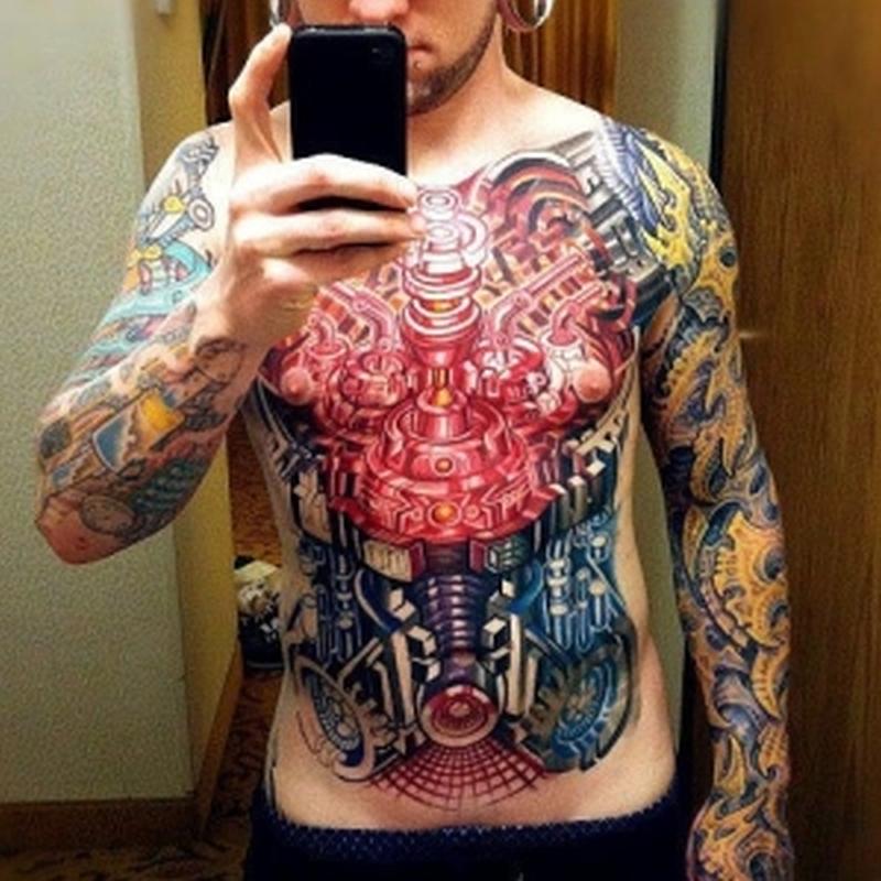 Colorful biomechanical tattoo for guys
