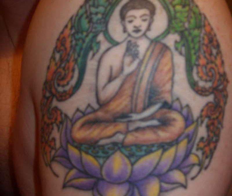 Colorful buddha lotus flower tattoo
