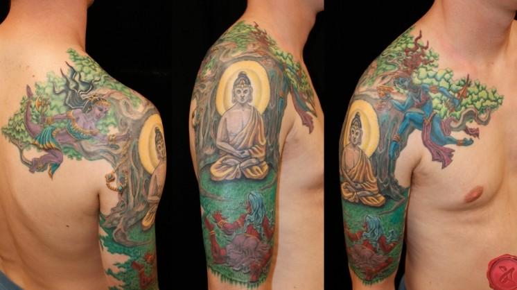 colorful-buddha-tattoo-on-shoulder