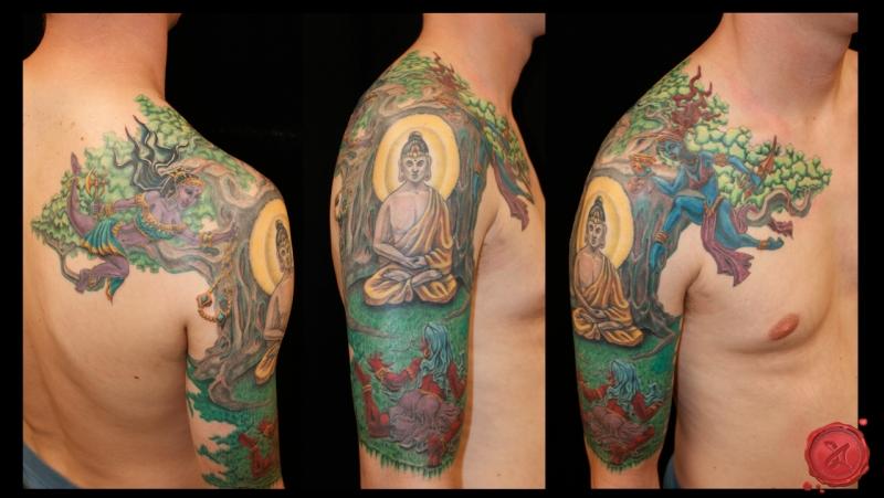 Colorful buddha tattoo on shoulder