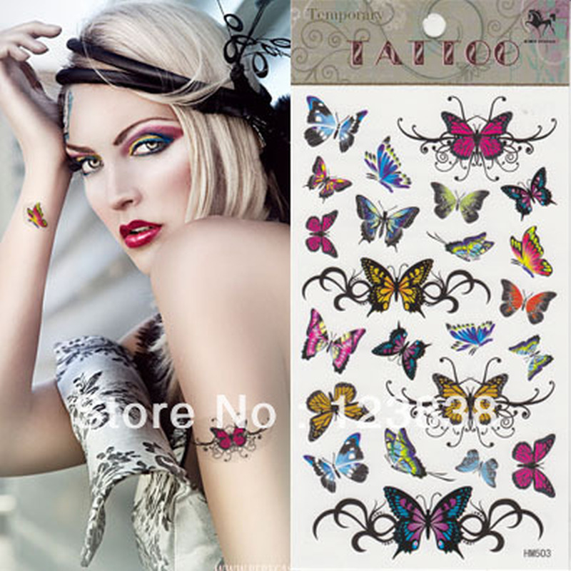 Colorful butterflies tattoo designs for girls