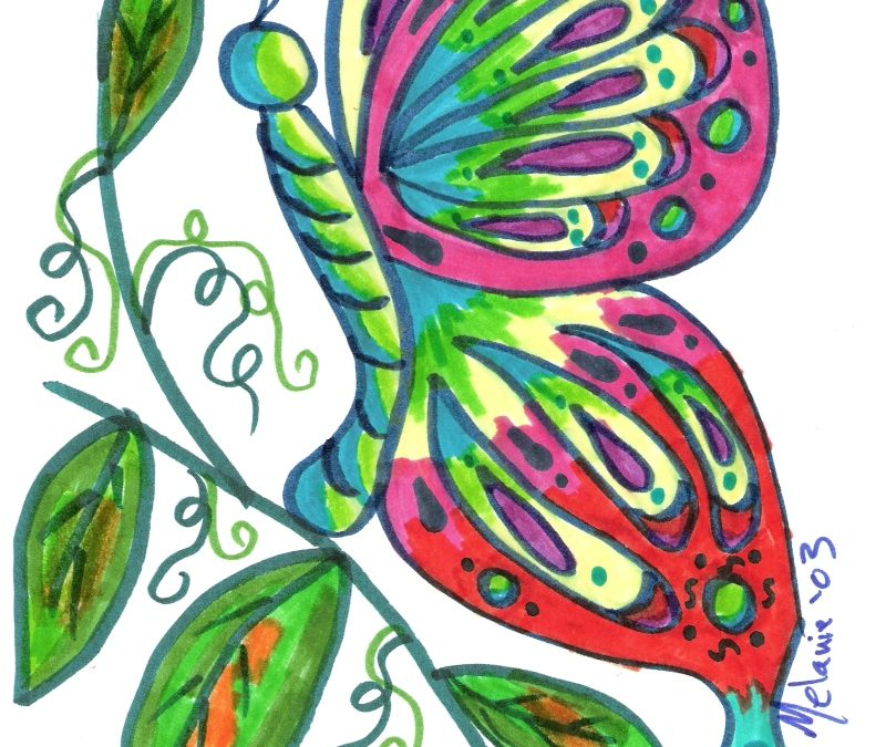 Colorful butterfly tattoo design 2
