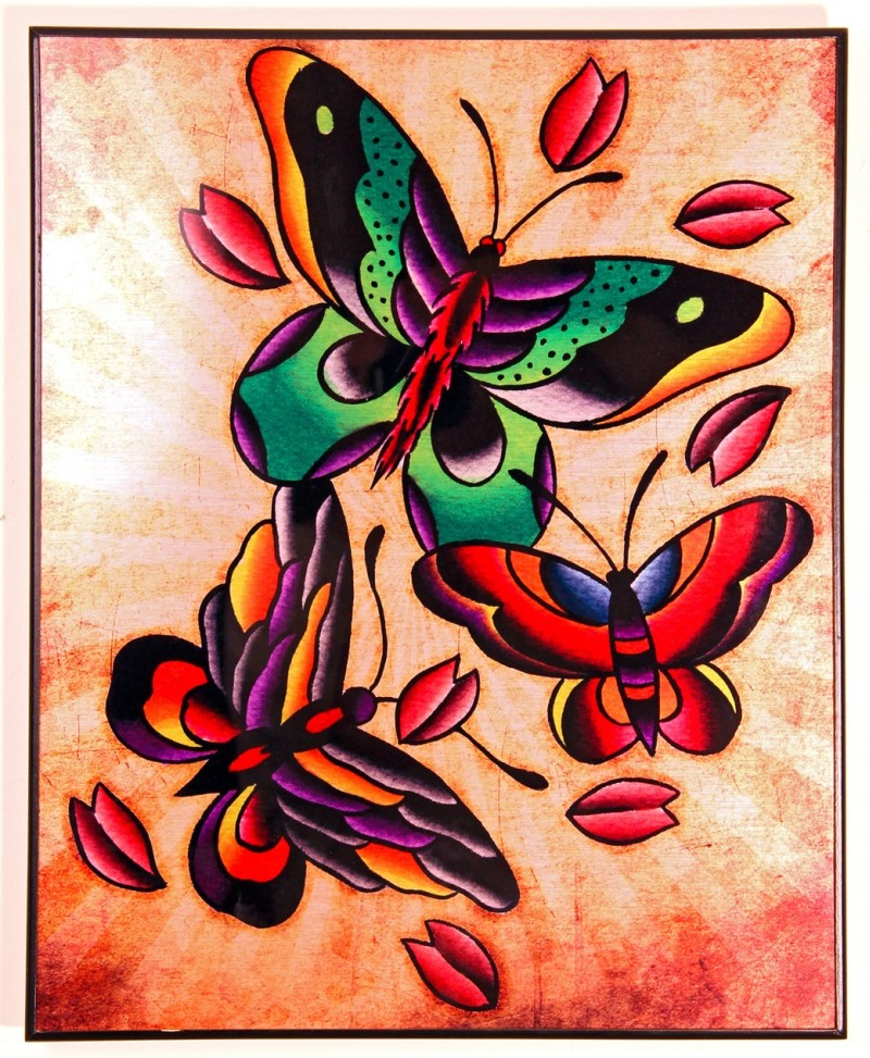 Colorful butterfly tattoo picture