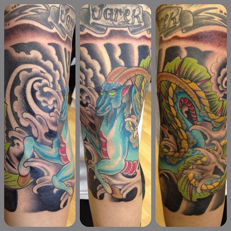Colorful capricorn tattoo design