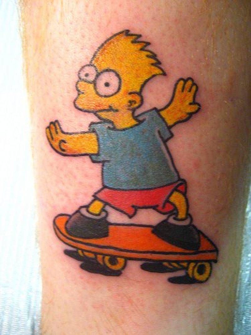 Colorful cartoon tattoo