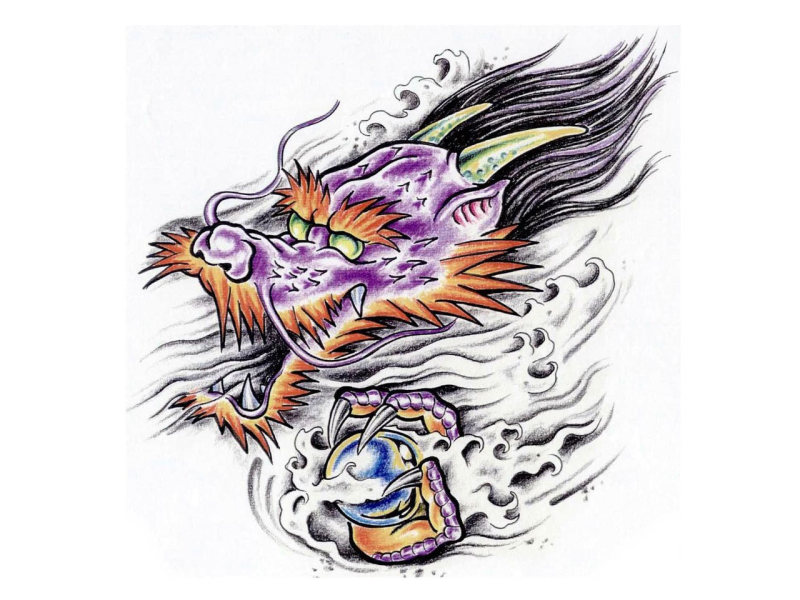 Colorful cartoonized dragon with magic ball fantasy tattoo sketch