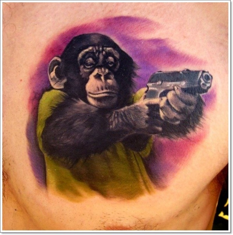 colorful chimpanzee with a gun tattoo tattoos book tattoos designs. Black Bedroom Furniture Sets. Home Design Ideas