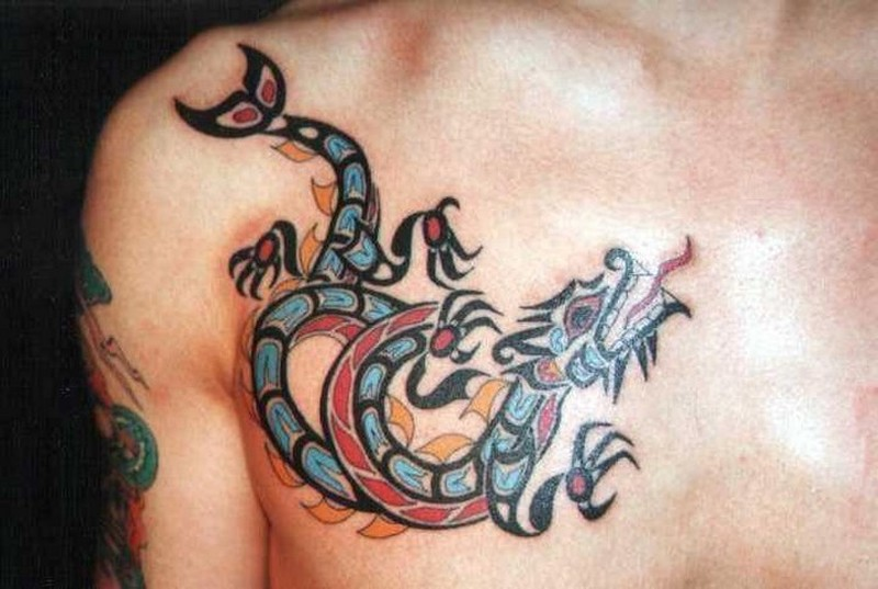 chinese dragon tattoo chest - photo #1