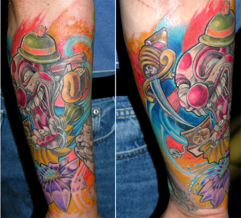 Colorful clown tattoo design 3