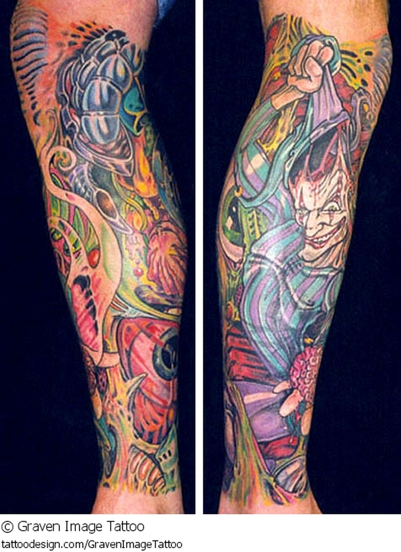 Colorful clown tattoo on leg 2