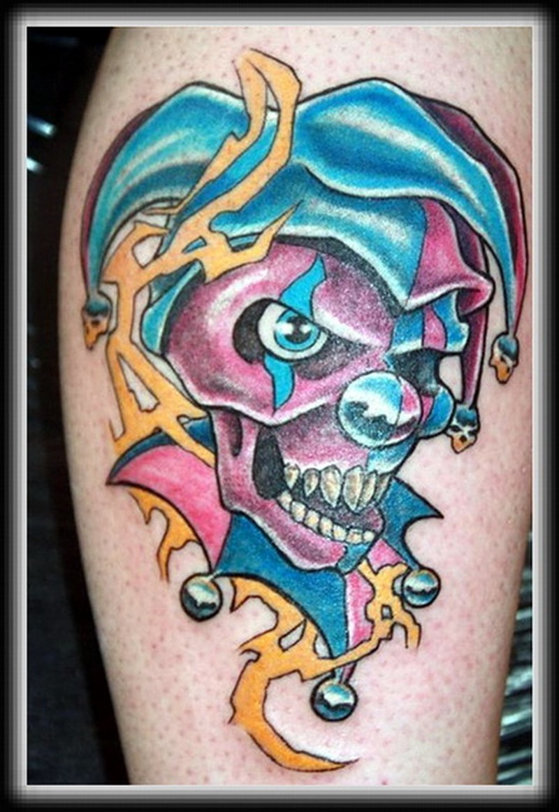 Colorful clown tattoo picture