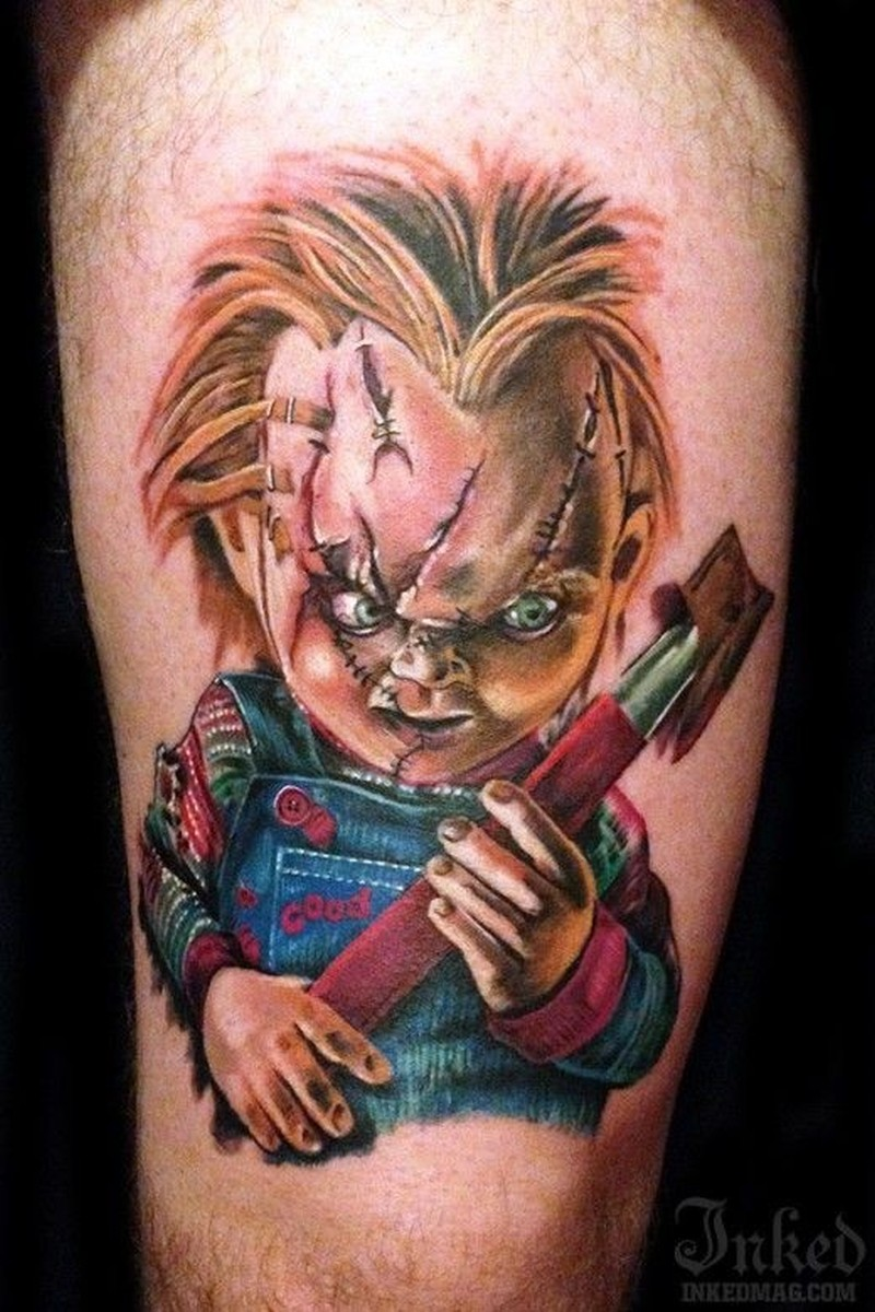 colorful creepy doll chucky tattoo tattoos book. Black Bedroom Furniture Sets. Home Design Ideas