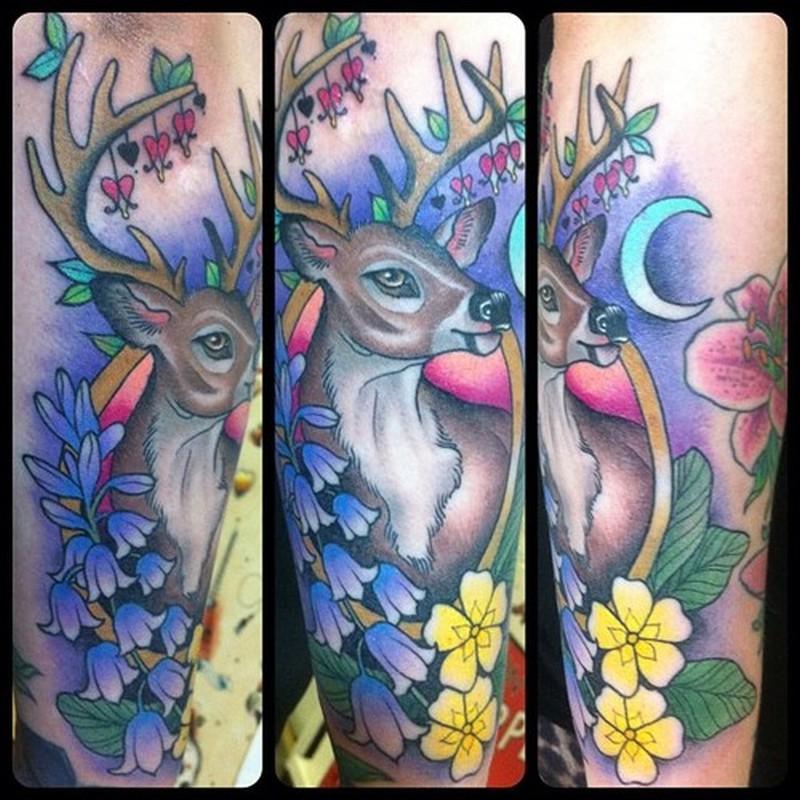 Colorful deer tattoo image