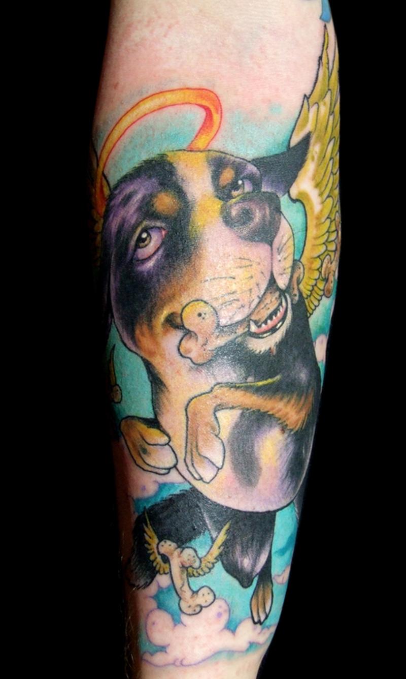 Colorful dog winged tattoo design