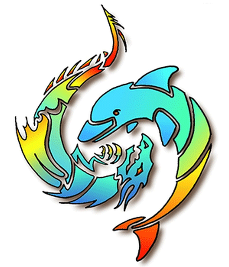 Colorful dolphin tattoo designs