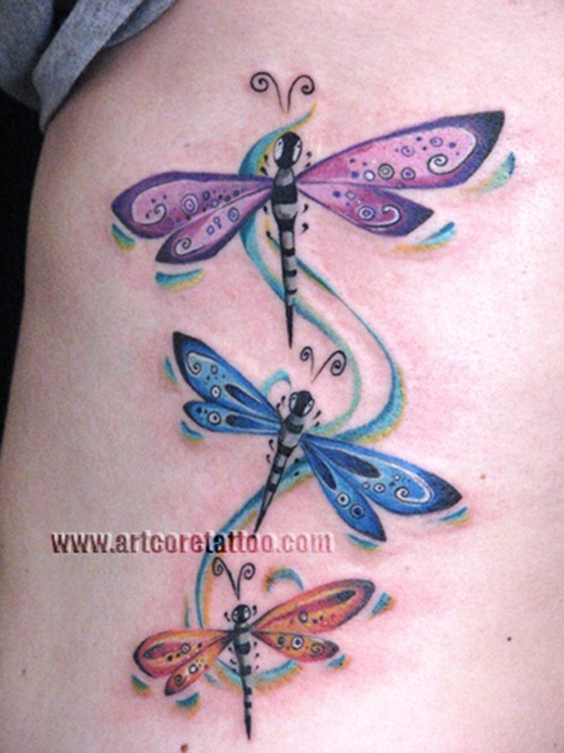 Colorful dragonfly insect tattoo designs